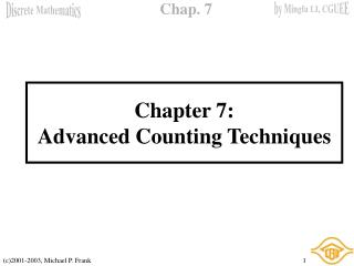 Chapter 7: Advanced Counting Techniques