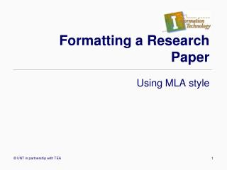 Formatting a Research Paper