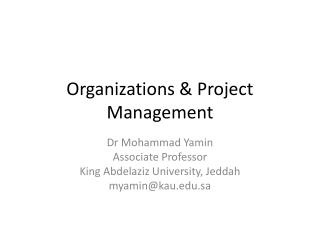 Organizations & Project Management