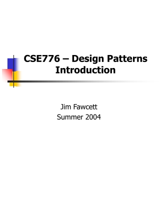 Design Patterns Part I Intro  Creational Patterns