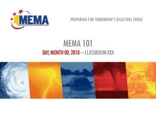 MEMA 101 DAY, MONTH 00, 2018 – CLASSROOM XXX