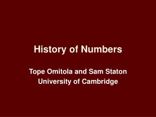History of Numbers