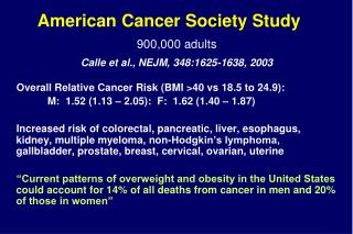 Overall Relative Cancer Risk (BMI >40 vs 18.5 to 24.9):