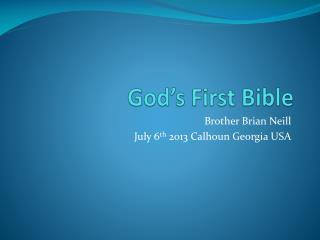 God's First Bible