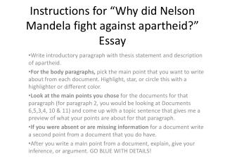 "Instructions for ""Why did Nelson Mandela fight against apartheid?"" Essay"