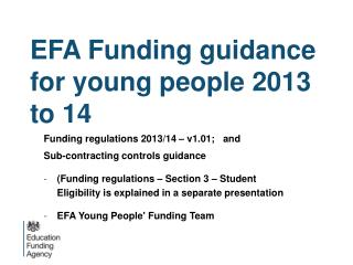 EFA Funding guidance for young people 2013 to 14