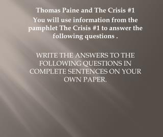 Thomas Paine and The Crisis #1