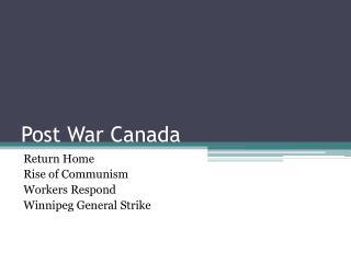 Post War Canada