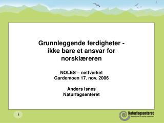 Grunnleggende ferdigheter - ikke bare et ansvar for norsklæreren NOLES – nettverket Gardemoen 17. nov. 2006 Anders Isnes