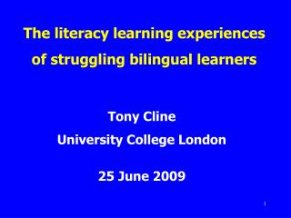 The literacy learning experiences of struggling bilingual learners