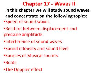 Chapter 17 - Waves  II