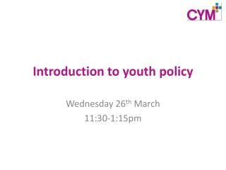 Introduction to youth policy