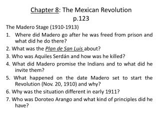 Chapter 8 : The Mexican Revolution p.123
