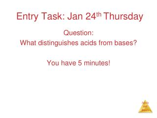 Entry Task: Jan 24 th  Thursday