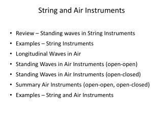 String and Air Instruments