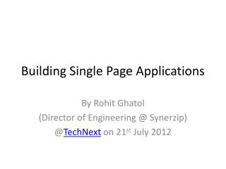 Building Single Page Applications