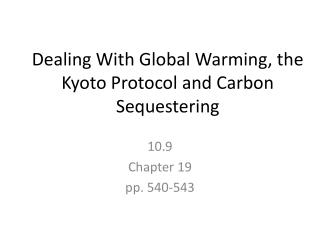 Dealing With Global Warming, the Kyoto  Protocol and  Carbon  Sequestering