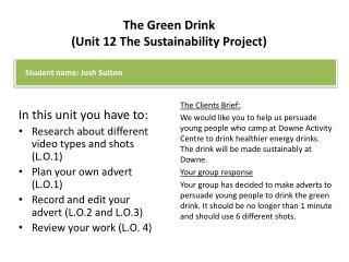 The Green Drink (Unit 12 The Sustainability Project)