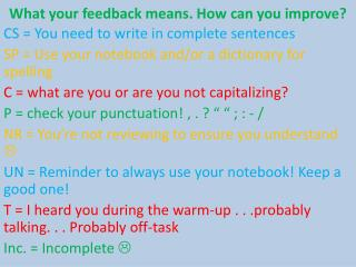 What your feedback means. How can you improve?