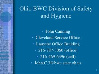 Ohio BWC Division of Safety and Hygiene
