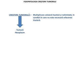 FIZIOPATOLOGIA CREȘTERII TUMORALE