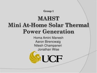 MAHST Mini At-Home Solar Thermal  Power Generation