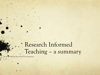 Research Informed Teaching – a summary