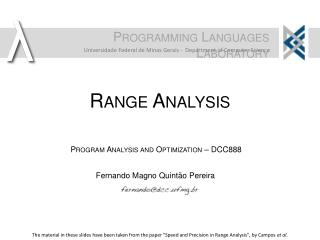 Range Analysis