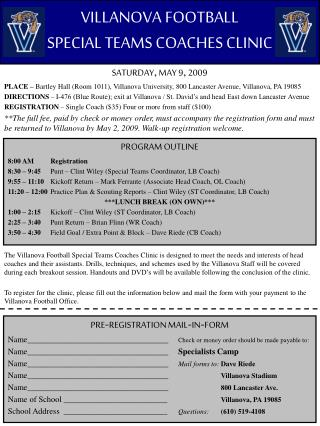 VILLANOVA FOOTBALL SPECIAL TEAMS COACHES CLINIC