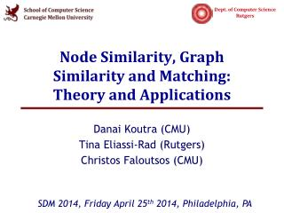 Node Similarity, Graph Similarity and Matching:  Theory and Applications