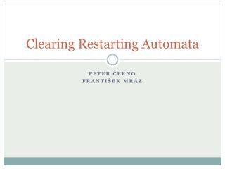Clearing Restarting Automata