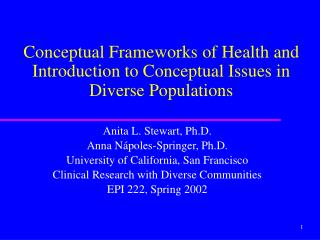 Conceptual Frameworks of Health and Introduction to Conceptual Issues in Diverse Populations