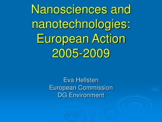 Definitions and Classifications in Nanotechnology