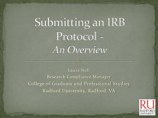 Submitting an IRB Protocol - An  Overview
