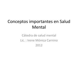 Conceptos importantes en Salud Mental