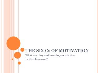 THE SIX Cs OF MOTIVATION