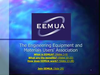 The Engineering Equipment and Materials Users  Association What is EEMUA Slides 3-9 What are the benefits Slides 10-22 H