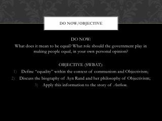 DO NOW/OBJECTIVE