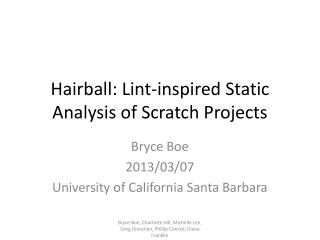Hairball: Lint-inspired Static Analysis of Scratch Projects