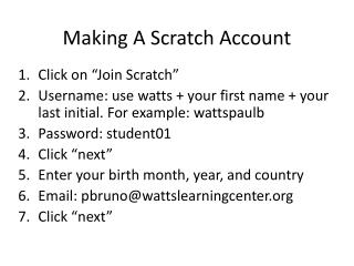 Making A Scratch Account