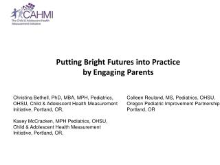 Putting Bright Futures into Practice  by Engaging Parents