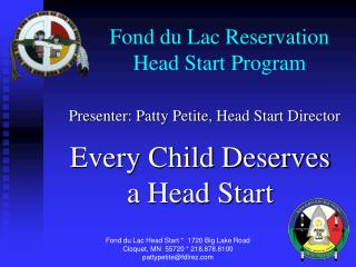 Fond du Lac Reservation Head Start Program