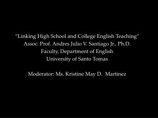 """Linking High School and College English Teaching"""
