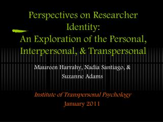 Perspectives on Researcher Identity: An Exploration of the Personal, Interpersonal, & Transpersonal