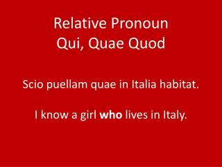 Relative Pronoun Qui, Quae Quod