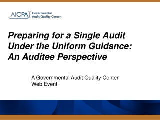 Preparing for a Single Audit Under the Uniform Guidance: An Auditee Perspective