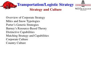 Overview of Corporate Strategy Miles and Snow Typologies Porter's Generic Strategies