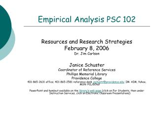 Empirical Analysis  PSC 102