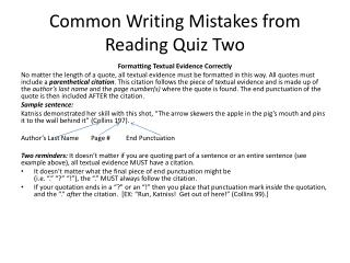 Common Writing Mistakes from Reading Quiz Two