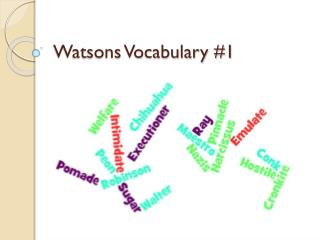 Watsons Vocabulary #1